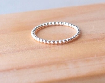 Dotty Silver Ring - Ready to ship - Bubble Ring Silver - Sterling Silver Band Ring - Stacking Ring - Silver Bead Ring