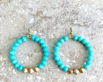 Beaded Hoop Earrings - Turquoise Hoop Earrings - Turquoise Gold -  Circle Hoop Earrings - Beaded Circle Earrings - Large Beaded Earrings