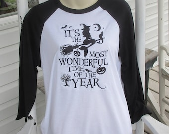 Baseball Tee : Halloween the most wonderful time of the year Embroiderd tee