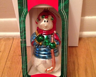 Santa's Best Glass Snowman Christmas Ornament