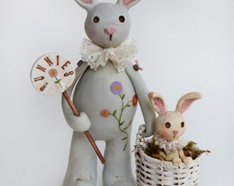Lapin - lapin Art - Primitive lapin - Bunny collection - fait sur commande de printemps