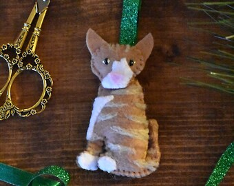 Custom Handmade Felt Cat Ornament