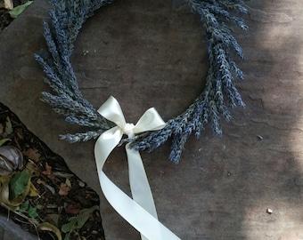 Dried Lavender Crown, Dried Flower Crown, Hair Wreath, Twine, Lace, Satin Ribbon