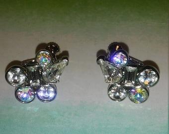 Sparking bridal Aurora Borealis Napier vintage geometric darling earrings