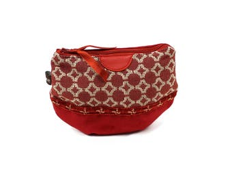 Little red suede pouch. Clutch color.