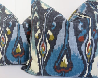 Blue pillow cover, kravet pillow, Red Kravet pillow, Mustard pillow, Navy blue pillow cover, Designer pillow