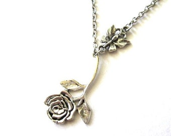 Butterfly and rose necklace jewelry antiqued silver butterfly necklace rose flower vintage victorian style