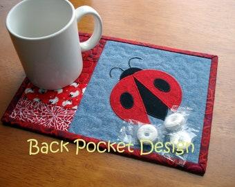 Red Ladybug Recycled Denim Mug Rug Quilted Coaster