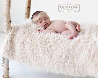 Cream Minkyak Faux Fur Photography Prop Rug Newborn Baby Toddler 27x30