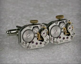Watch Movement Cufflinks - Steampunk Cufflinks . Steampunk jewelry ,  Vintage Clockwork Watch Movement Cuff Links