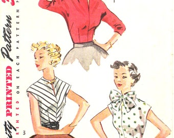 UNUSED 50's Rockabilly Blouse Bust 32 Vintage Sewing Pattern Simplicity 4180 Size 14