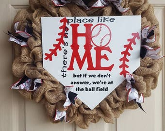 There's No Place Like Home Baseball Wreath