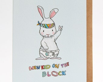 New baby card, funny new baby card, baby shower card, 'New Kid On The Block', congratulations, new parents, welcome to the world