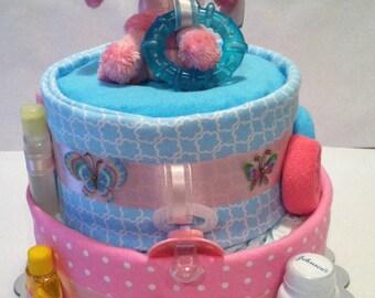 Pink Poodles & Butterflies Diaper Cake