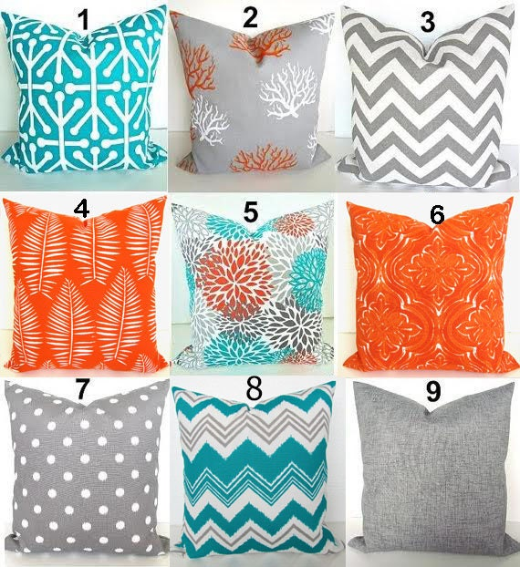 sale orange pillows teal throw pillows turquoise outdoor. Black Bedroom Furniture Sets. Home Design Ideas