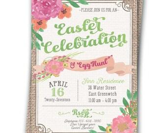 Easter Invitation Easter Brunch Easter Lunch Easter Egg Hunt Easter Party Invitation 5x7 Printable Spring Resurrection Party
