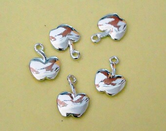 5 Pieces, Small Apple Charms, Sterling Silver .925, with Soldered Loop, 8mm x 12mm, SCHP520