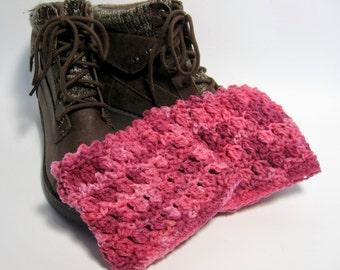 Hot Pink Boot Cuffs, Fuchsia Boot Cuffs, Hot Pink Boot Toppers,   Crochet Boot Cuffs, Fashion Boot Cuffs, Gift for Her, Womens Boot Cuffs