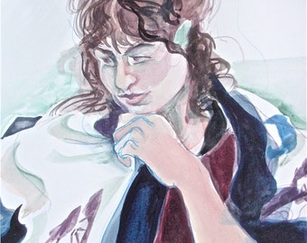 "Handmade, Fine Art, A Small Painting in Watercolor:  ""Pensive with Shawl"", A Portrait"