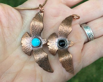 Soaring Hawk Necklace, Copper and turquoise, Hawk Necklace, Talisman Jewelry, Bird Necklace for Nature Lovers