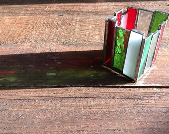 Handmade abstract Stained Glass Candle Holder, white, red, green, Christmas colors