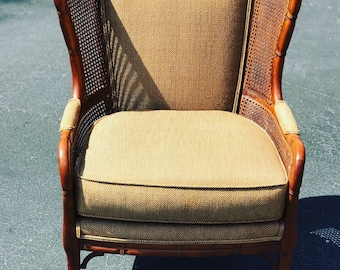 Beautiful vintage Ethan Allen faux bamboo chair - cane