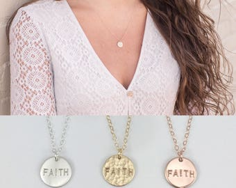 Faith Disc Necklace, Custom Disk Necklace, Faith Jewelry, Personalized Christian Disc Necklace, Hand Stamped Disc, Rose Gold Disc, Gold Disc