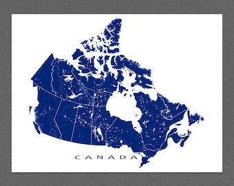 Canada Map Print, Canadian Art, Canada Poster, Wall Map
