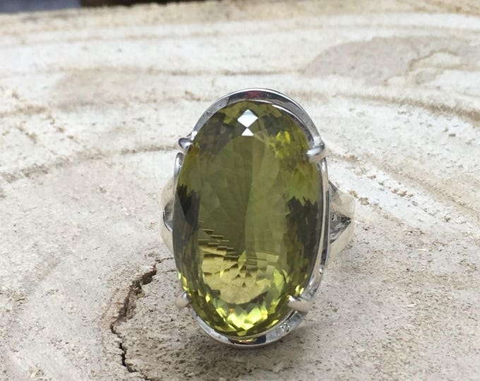 Featured listing image: Handcrafted Sterling Silver Green Gold Quartz Ring.