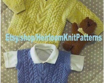 Baby Child Cable Sweater & Slipover DK Knitting Pattern 16-28'' Baby Child Kids Boys Girls Cable Jumper Pullover Instant Download PDF - 781