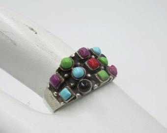 Vintage sterling silver & multi stone ring Size 8