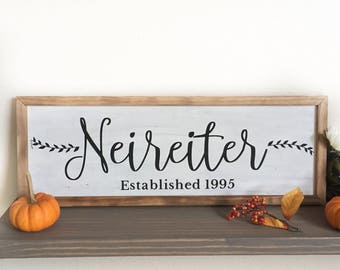 Custom Last Name Sign, Wedding Date Sign, Custom Wedding Gift, Custom Wood Sign, Rustic Home Decor, Farmhouse Decor