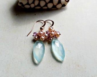 Aqua Lavender Cluster Earrings, Pastel Freshwater Pearl Dangle, Pale Aqua Gemstone Dangle