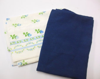 Vintage Pillowcases Navy Blue Flowered Bedding Linen