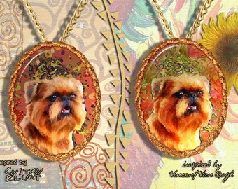 Brussels Griffon Jewelry Pendant - Brooch Handcrafted Porcelain by Nobility Dogs - Gustav Klimt and Van Gogh Style