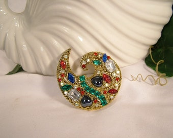 Vintage 1960's Sparkling Colorful Rhinestone & Faceted Glass Paisley Swirl Brooch