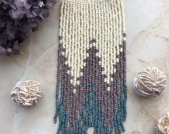 Lavender Stream Shoulder Dusters Fringe Dangle Seed Bead Earrings
