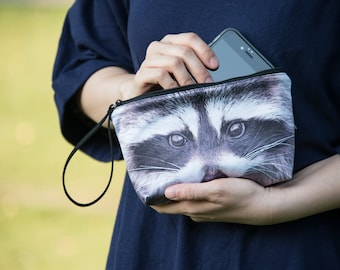 Raccoon wristlet, Raccoon clutch, Raccoon purse, Raccoon pouch, Raccoon bag - PO-84