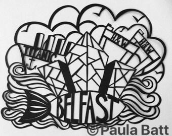 Belfast - original papercut illustration