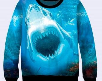 Shark Sweatshirt, Colorful Sweater, Mens Sweatshirt, Mens Coat, Blue, Sea, Pullover, Animal Print, Sweat Shirt, Crew Neck Sweatshirt