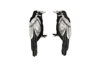 Crow stud earrings, birds, handmade shrink plastic, drawing. black and white