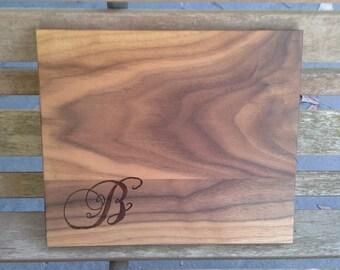 Personalized Family Monogram Initial Cutting Board, Handmade Woodburned Wood Cutting Board, Monogrammed Kitchen board