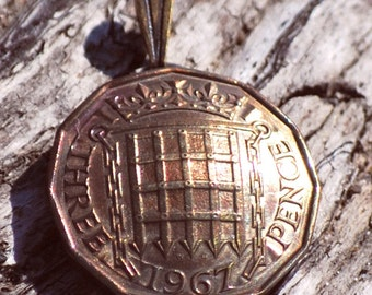 Unique British Threepence Coin Pendant, Vintage England Coin Jewelry, Gift for Her, Gift for Mom, Gift for Anniversary