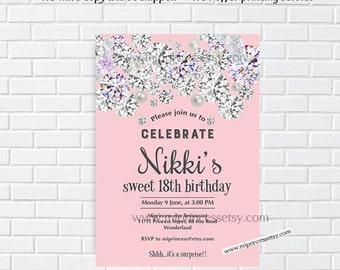 pink invitation, diamond party, girl birthday,  pink birthday,  glitter birthday, elegant invitation, rhinestone,  sparkle invite, card 971