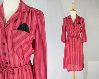 Vintage 1980's Candy Striped Secretary Dress Pink and Red with Black pocket Square!