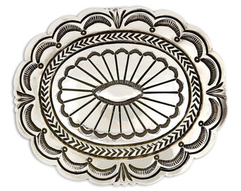Museum Quality Stamped Navajo .925 Sterling Silver Belt Buckle