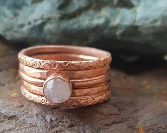 Copper Stacking Rings Set of 5 Stackable Rings for Women, Minimalist Jewelry, Thin Stackable Rings with Moonstone Crystal, Boho Copper Band,