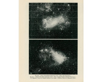 1959 MAGELLANIC CLOUDS print original vintage celestial astronomy lithograph - greater and lesser clouds