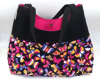 """Hobo Tote Shoulder Hand Crafted Bag for travel in cotton fabrics """"Let's Play Butterflies"""" hand made with love by Joella Hill Designer Austra"""