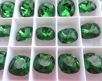 2 Fern Green Foiled Swarovski Crystal Square Cushion Cut Stone 4470 12mm
